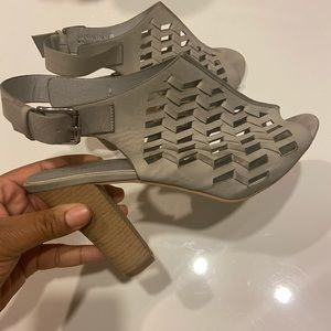 Taupe Cut-Out Ankle Strap Heel
